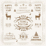 Merry Christmas and New Year 2015 celebration with ornament. Merry Christmas and Happy New Year 2015 celebration with typographic and calligraphic collection Stock Images