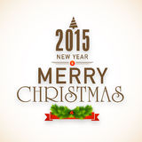 Merry Christmas and New Year celebrations poster design. Stock Photo
