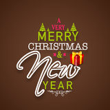 Merry Christmas and New Year celebrations poster design with sty Royalty Free Stock Images