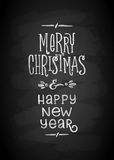 Merry Christmas and New Year Chalk Board Lettering. Letters stylized for the drawing with chalk on the blackboard Stock Image