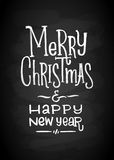 Merry Christmas and New Year Chalk Board Lettering. Letters stylized for the drawing with chalk on the blackboard Royalty Free Stock Photo