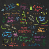Merry Christmas and New Year Childish style colorful freehand lettering. Royalty Free Stock Image