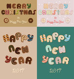 Merry Christmas. New Year 2017. Chocolate donuts. Merry Christmas. Happy New Year. 2017. Chocolate donuts font. Artistic sweet alphabet. Festive inscriptions Stock Photography