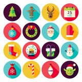 Merry Christmas New Year Circle Icons Set with long Shadow Royalty Free Stock Image