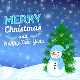 Merry Christmas and New Year colorful background with hand drawn. Snowman, tree and snowflakes stock illustration