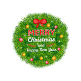 Merry Christmas and New Year colorful background. Label from pine branches and decoration royalty free illustration