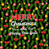 Merry Christmas and New Year colorful background. Colorful Christmas and  New Year background with pine branches and decoration. Seamless pattern Stock Image