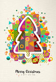 Merry christmas new year colorful fun tree outline Royalty Free Stock Photos