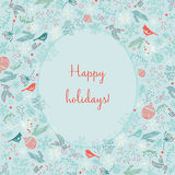 Merry Christmas New Year decoration elements circle greeting label card mistletoe composition.  Royalty Free Stock Images