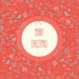 Merry Christmas New Year decoration elements circle greeting label card. Vector red background. Happy holidays. Royalty Free Stock Photos