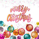 Merry Christmas, new year decoration with lettering. Holidays hand calligraphy quotes on colorful balls with confetti and glitter. Vector decorative composition Stock Photo