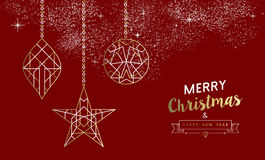Merry christmas new year decoration outline gold Royalty Free Stock Photo