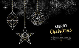 Merry christmas new year decoration outline gold Royalty Free Stock Photography