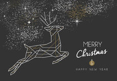 Merry christmas new year deer art deco outline. Merry christmas happy new year jumping deer design in art deco outline style. Ideal for xmas greeting card or Stock Photos