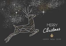 Merry christmas new year deer art deco outline Stock Photos