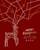 Merry christmas new year deer gold outline deco. Merry Christmas Happy New Year gold and red deer outline art deco style antlers. Ideal for holiday greeting card stock illustration