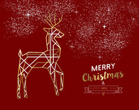 Merry christmas new year deer gold outline deco. Merry Christmas Happy New Year gold and red deer in outline art deco style. Ideal for holiday greeting card Stock Images