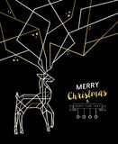 Merry christmas new year deer gold outline deco Stock Images
