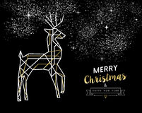 Merry christmas new year deer gold outline deco Stock Photography
