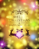 Merry christmas new year deer holly ornament bokeh Stock Photography
