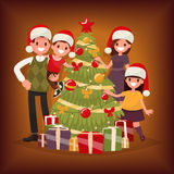 Merry Christmas and New Year. The family decorates the Christmas Stock Photo