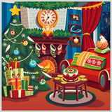 Merry Christmas and New Year. The family decorates the Christmas tree. Interior. Vector illustration Royalty Free Stock Image