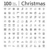 Merry Christmas, new year flat line icons. Gifts, snowflakes, presents, letter to santa claus, decoration, winter sport. Vector illustrations. Thin signs xmas vector illustration