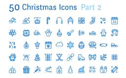 Merry Christmas, new year flat line icons. Gifts, winter sports, presents,skiing, hockey, snowboard, snowball game, snow. Removal vector illustrations. Thin royalty free illustration