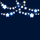 Merry Christmas and New Year Garland Light Design on Blue Background. Holiday lights. Vector illustration Royalty Free Stock Photos