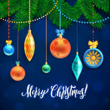 Merry Christmas and New Year Garland Light Design on Blue Background. Holiday lights. Vector illustration Stock Photography