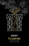 Merry christmas new year gift outline gold deco Royalty Free Stock Photography