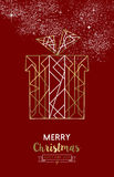 Merry christmas new year gift outline gold deco. Merry Christmas Happy New Year santa gift in outline gold art deco style. Ideal for xmas greeting card, holiday Stock Image