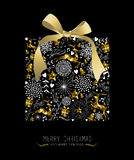 Merry christmas New year gift shape gold holiday Stock Photo