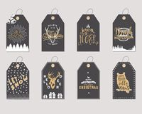 Merry Christmas and New Year gift tags collection. Holiday cards concept with xmas symbols - deer, snowflake, coffee cup. Merry Christmas and New Year gift tags stock illustration