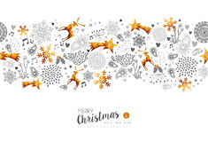 Merry Christmas New Year gold decoration pattern Stock Photo