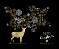 Merry christmas new year gold deer nature vintage. Merry christmas happy new year luxury golden deer design on black background with nature elements and label Royalty Free Illustration