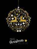 Merry christmas new year gold deer ornament ball. Merry christmas happy new year luxurious golden ornament ball shape on black background with deer and vintage Royalty Free Stock Photos