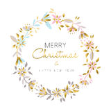 Merry christmas and new year gold flower wreath vector illustration