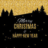 Merry Christmas and New Year Gold Glossy Background. Vector Illu Stock Photos