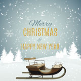 Merry Christmas and New Year Gold Glossy Background. Vector Illu Stock Photography