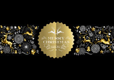 Merry christmas new year gold label pattern deer Royalty Free Stock Photography