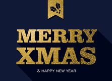 Christmas and new year gold glitter message quote Stock Images