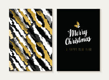 Merry christmas new year gold retro pattern card. Merry Christmas and Happy new year card template set with retro 80s style seamless pattern and trendy holiday Stock Illustration