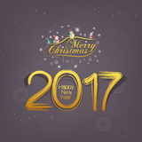 Merry christmas and New Year 2017. gold shadow Stock Images