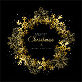 Merry Christmas and New Year gold snowflake wreath. Merry Christmas Happy New Year greeting card design with gold snowflake wreath decoration for holiday season Stock Photography