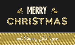 Merry christmas and new year gold text design Royalty Free Stock Images