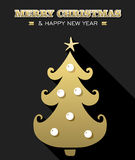 Merry christmas new year gold xmas tree holiday Royalty Free Stock Images