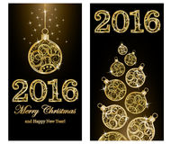 Merry Christmas and New 2016 year golden banners. Vector Royalty Free Stock Images