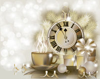 Merry Christmas & New year golden wallpaper Royalty Free Stock Photos