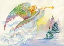 Merry Christmas and New Year Greeting Card with Beautiful Angel with Wings, Watercolor Illustration. Royalty Free Stock Photo